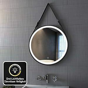 Spiegel LED Beleuchtung 60 cm LED Rund Badezimmerspiegel Wandspiegel Dimmbar mit Touch-Schalter, Warmweiß/Neutral/Kaltweiß 3000-6400K