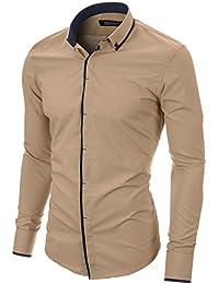 MODERNO Herren Hemd Slim Fit Casual Langarm Button Down Kragen (MOD1445LS)