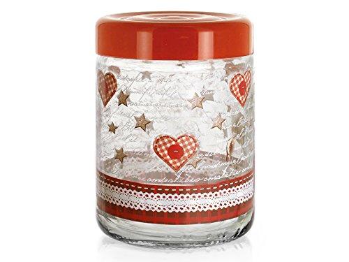 H+H 1284800Pengo Dec Herzen Vase Glas, 800cc, transparent/rot (Rot Vase Glas Herz)
