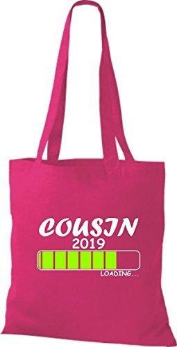 ShirtInStyle Stoffbeutel Baumwolltasche Loading COUSIN 2019 Fuchsia