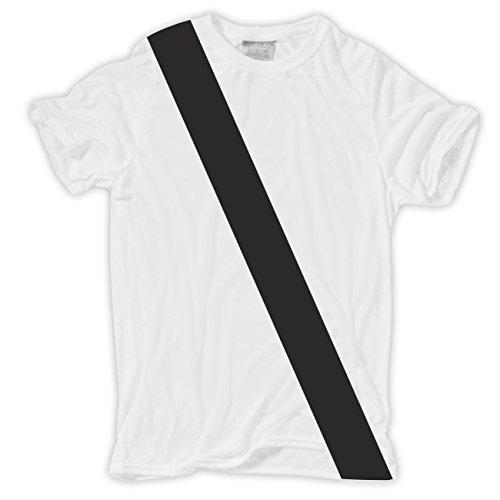 Männer und Herren Tshirt Beifahrer Gurt Körperbetont weiß