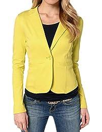 b71fbe768656 Bluelucon Damen Blazer Tailliert Kurz Elegante Langarm Slim Business Büro  Jäckchen Anzug Casual Kurzblazer Mantel Jacke