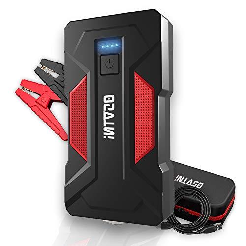 OSVTNI Starthilfe Powerbank, 2000A Spitzstrom 16000mAh Auto Starthilfe für 7.5L Benzin und 6.0L Dieselmotor, 12V Starthilfegerät mit Dual USB,DC Ausgang,LED Taschenlampe