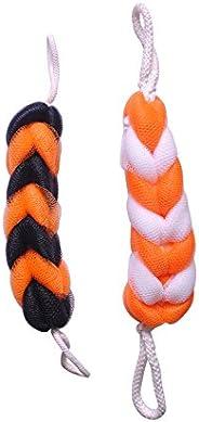 KRIWIN® Combo of 1 Orange & Black Loofah Sponge Scrub and 1 Orange & White Luffa Sponge Scrub for Back