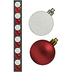 12 Natale Rosso e bianco appeso glitter classici rotondi delle decorazioni Bagattelle