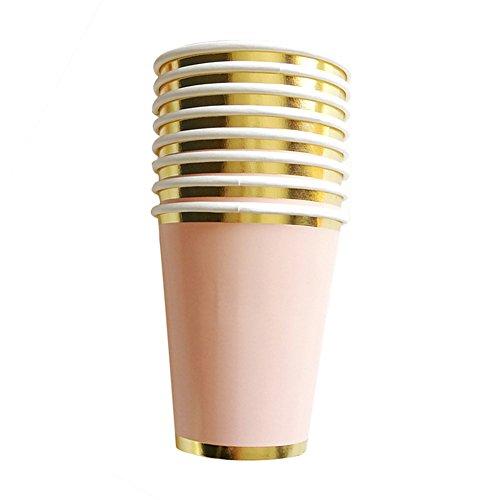 , Papier Trinkhalme, Servietten , Pappbecher - Einweg Geschirr mit Polka Dots für Geburtstag Weihnachten Hochzeit Event Party (C: 8 x paper cups) ()