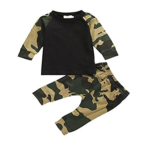 CHIC-CHIC Ensemble Garçon Bébé 2pc Pull-over T-shirt + Pantalons Sport Pull Longues Manches Haut Sweat-shirt Imprimé Camouflage 2-3ans