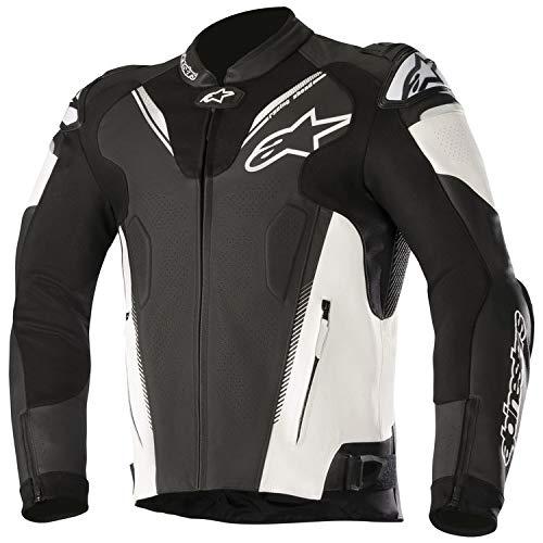 Alpinestars Motorradjacken Atem V3 Leather Jacket Black White, Schwarz/Weiss, 58