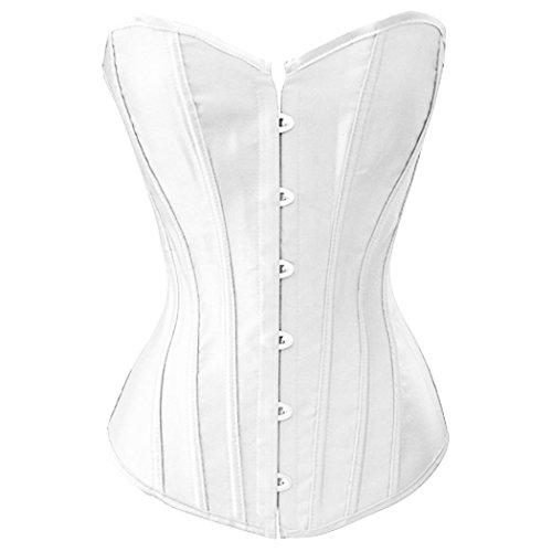 Korsett Vollbrust, Sondereu Damen Corsage Überbrust Kosagenkleid mit G-String für Dicken Bauchweg Schwarz Weiß Weiß