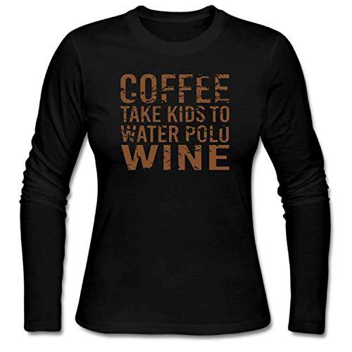 0678291a shshiqq Women's Coffee Take Kids To Water Polo Wine Funny T-Shirt