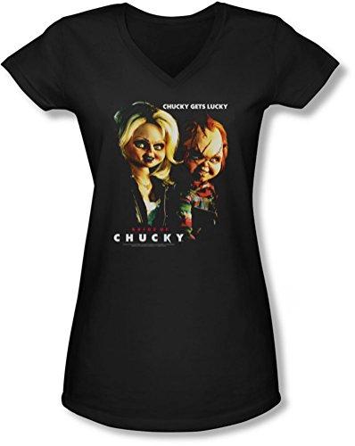 Junge Frauen Chucky hat Glück mit V-Ausschnitt T-Shirt, XX-Large, Black (Chucky-shirt Für Kinder)