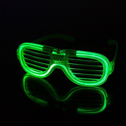 Domire 1 PC-LED Licht-Blinkende Gläser Spielzeug Fensterläden Cold Light Luminous Gläser Nachtclub Konzert-Partei-Feiertags-Party-Zubehör - Grün (Halloween Hollywood Paar Kostüm)