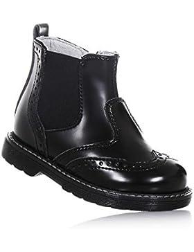 NERO GIARDINI - Botín negro de cuero, made in Italy, con cierre de cremallera lateral, inserción elástica lateral...