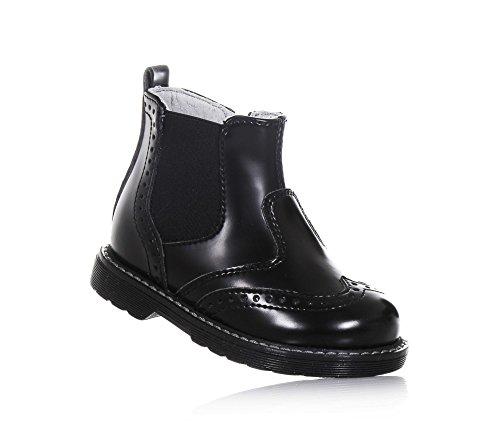 NERO GIARDINI - Bottine noire en cuir, made in Italy, fermeture éclair latérale, pièce élastique latérale, garçon, garçons