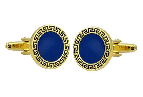 Runde elegante Emaille Kugel Manschettenknöpfe klar Gold & Blau Manschettenknöpfe Messing vergoldet Neuheit Mode Manschettenknöpfe