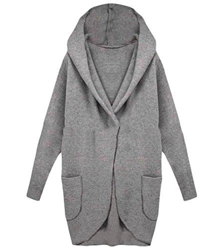 Trim Knit Cardigan (Tootlessly-Women Damen Strickjacke Gr. Medium, grau)