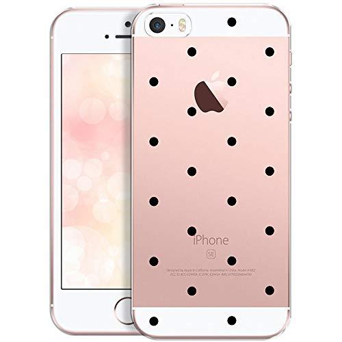 OOH!COLOR® Design Case für iPhone 5 / 5S / SE mit Motiv MPA148 schwarz Punkte modisch stilvoll Silikon Hülle elastisch Schutzhülle Transparent Case Luxus Cover Slim Etui