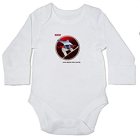 Hippowarehouse RIDE circular silhouette snowboard design baby bodysuit (long sleeve)