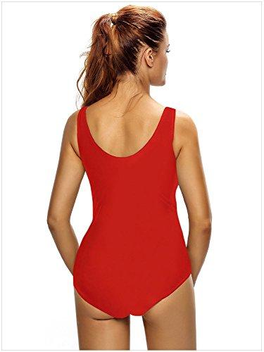 Minetom Un Pezzo Estate Bikini Affascinante Monokini Costume Costumi Bagno Donna Beachwear Swimsuit Collo V Profonda Imbracatura Regolabile Rosso