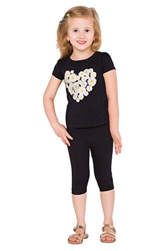 hi!mom - Kinder Leggings mit 3/4-Länge - aus Baumwolle - einfarbig - 2-13 Jahre - Schwarz - 1-2 Jahre