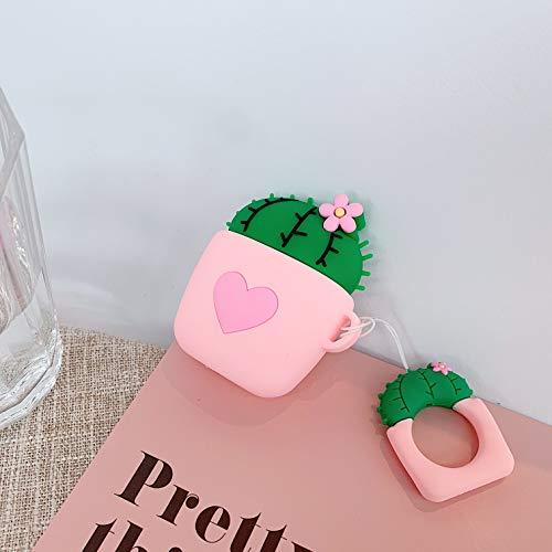 SevenPanda für Airpods 1 und 2 Hülle, Süße 3D Funny Cartoon Soft Silikon Airpod Hülle, Kawaii Fun Cool Catalyst Keychain Hülle, Karabinerhüllen für Mädchen Kinder Teens Jungen Airpods (Kaktus Rosa)