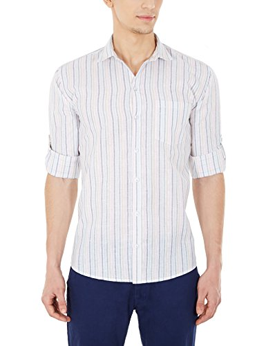 Blue Fire Men's Striped Full Sleeve Slim Fit Poly Cotton Casual Shirt (BF10050138)  available at amazon for Rs.349