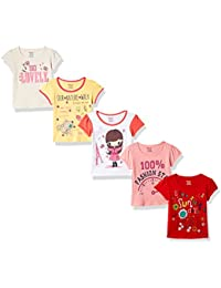 Donuts by Unlimited Baby Girls' Plain Regular Fit T-Shirt (Pack of 5)