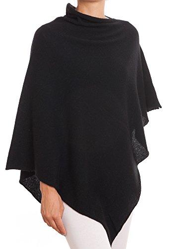 Schwarzer Poncho (DALLE PIANE CASHMERE - Poncho aus 100% Kaschmir - für Frau, Farbe: Schwarz, Einheitsgröße)