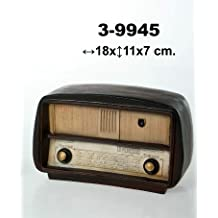 DonRegaloWeb - Figura de una radio antigua de cerámica decorada en tonos marrones