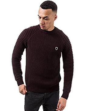 883 POLICE Don Textured Knit Crew Neck Sweater | Burgundy