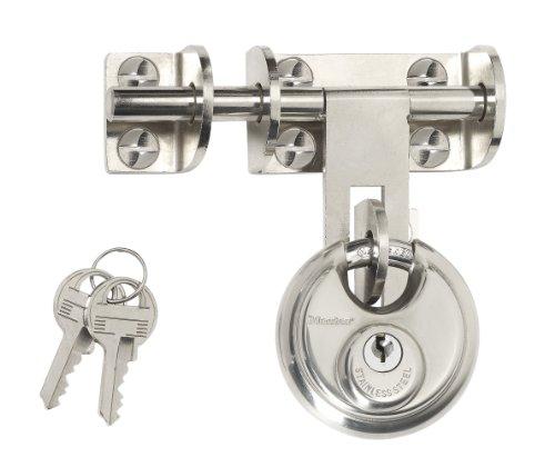 Master Lock 448EURD Set Chiavistello, Cerniera Acciaio, Placcato Cromato, 116 mm e Lucchetto, Disco Acciaio Inossidabile, 60 mm