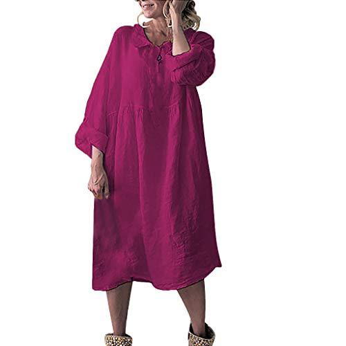 Frauen Plain Buttoned O-Neck Solide Langarm Plus Size Kleid