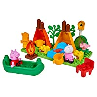 BIG Spielwarenfabrik Big-Bloxx 800057143 Peppa Pig Camping Set Green Orange Red White Pink Blue Brown