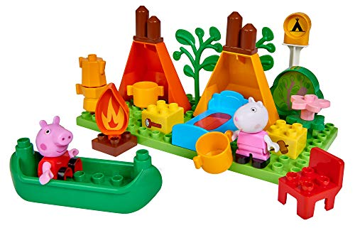BIG Spielwarenfabrik 800057143 Big-Bloxx Peppa Pig Camping Set, Verde, Naranja, Rojo, Blanco, Rosa, Azul, BRAN