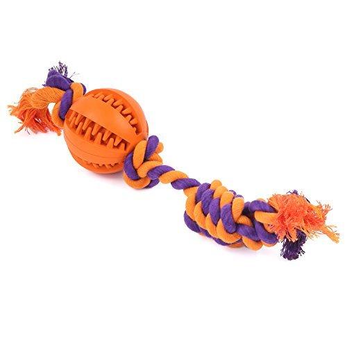Pawaboo Pelota para Perro - Juguete de Cuerda Resistente de Algodón de Mastica / Duradero no Tóxico / Limpieza de Dientes Play Cachorros Ball Toy de Goma, Naranja