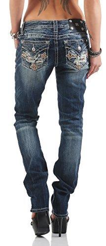 Miss Me Women's Jeans Mid Rise Straight - MMP8795T - Blue, 27W