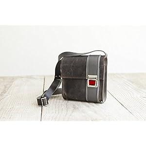 graue Ledertasche, Umhängetasche aus echtem Leder, handmade im Allgäu