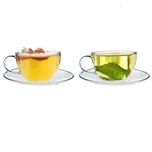 Tasse et sous-tasse en verre - pour cappuccino/thé/café - transparent - 260 ml - lot de 2