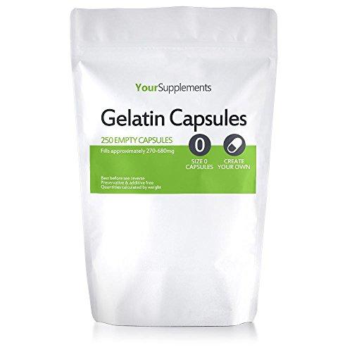 """Your Supplements - Cápsulas de gelatina, Vacías, Tamaño""""0"""", 250 piezas"""