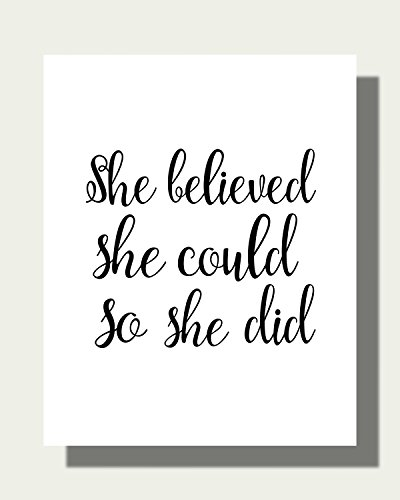 She Believed She Could So She Did Art Print - Contemporary Art Print - Inspirational Quote Art Print - Home Decor - Black & White Artwork - Gift - Archival Art Print - Illustration - Modern Art - Picture - Wall Hanging - Housewares PQ787