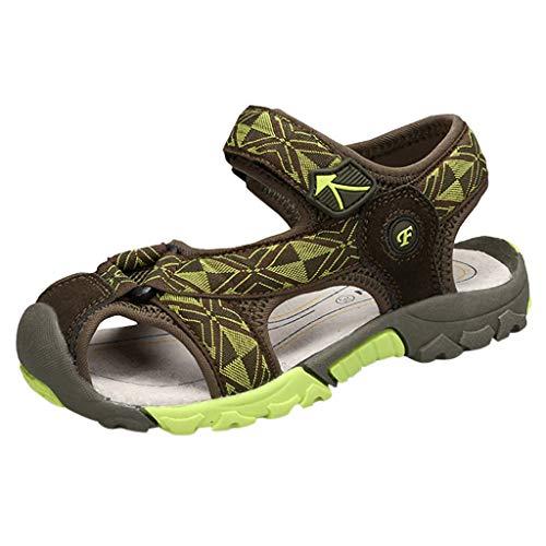 Fenverk Jungen Sandalen, Kinder Jungen Mädchen Sandalette Schuhe Outdoor Sport Sandalen Klettverschluss Sommer Schuhe(Grün,35)