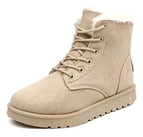 AARDIMI Heiße Frauen Stiefel Schnee Warme Winterstiefel Lace Up Pelz Stiefeletten Damen Winterschuhe Frauen Schuhe (37, Khaki)