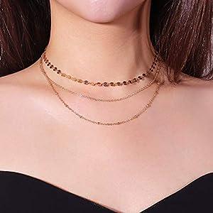 XUHAHAXL Halskette/Mode Einfache Persönlichkeit Zubehör Multi Layer Kupfer Pailletten Kupfer Perle Kette Set Halskette Halskette