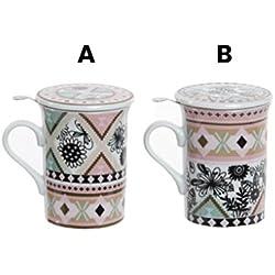 Taza de infusiones de Porcelana con Filtro y Tapa Decorado con Formas Florales y geometricas