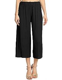 d2e674fca6 Anna-Kaci Damen Hohe Taille faltenreich breite Bein Plissee Culotte Gaucho  faltenhose Palazzo Pants Hose