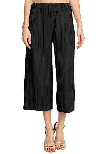 Anna-Kaci Damen Hohe Taille faltenreich breite Bein Plissee Hose Culotte Gaucho faltenhose Palazzo Pants Hose
