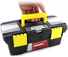Latiq Multipurpose Carry to Hardware Storage Toolbox Organizer with Removable Tray for Hand Tool Kit, Hammer, Accessories, etc. - Yellow & Black