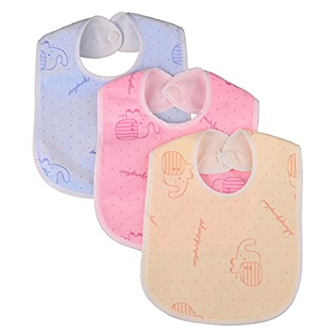 Zeltababy Waterproof Dribble Bib Snap Button Velevt Fabric Plastic Backed for 0-24 Months, 10 Packs (Color & Patterns Sent at Random)