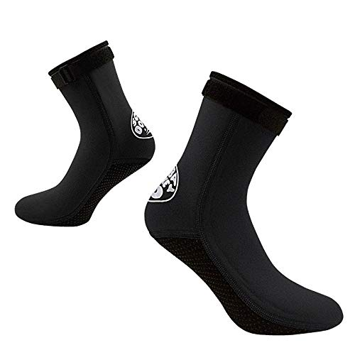 Qkurt Calcetines de Neopreno, Calcetines de Neopreno de 3 mm para Buceo, Snorkel y Deportes acuáticos, Calcetines Antideslizantes para Hombres y Mujeres