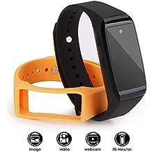 Caméra Espion, ieGeek Mini Caméra 1080P HD avec Enregistreur Audio et Vidéo, USB Rechargeable, Mini Montre Factice et Deux Bracelets Fourni, Supporte Maximale la Carte Micro SD 32Go